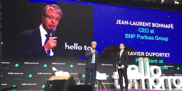 Jean-Laurent Bonnafé, le directeur général de BNP Paribas, au Hello Tomorrow Summit, un concours d'innovations que la banque parraine.