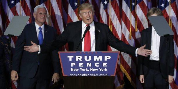 Donald Trump devant ses partisans, dans la nuit du 8 au 9 novembre.