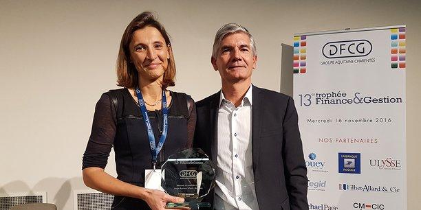 Albine Roy-Contanci, directrice administrative et financière de FEI SAS, et Marc-Henri Boucher, président du groupe DFCG Aquitaine Charentes