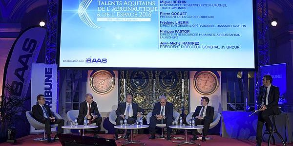 De gauche à droite : Jean-Michel Ramirez (JVgroup), Philippe Pastor (Airbus Safran Launchers), Frédéric Lherm (Dassault Aviation), Pierre Goguet (CCI Bordeaux Gironde), Miguel Brehin (Thales Avionics)