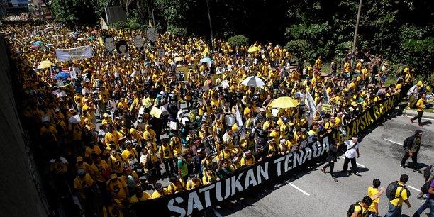 Manifestation le 19 novembre 2016 à Kuala Lumpur (Malaisie) du parti Bersih pro-démocratie appelant à la destitution du Premier ministre qui serait impliqué dans le scandale politico-financier lié au siphonnage du fonds public 1MDB.