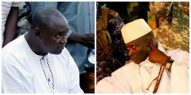 Le président gambien en exercice, Adama Barrow, et l'ancien chef de l'Etat de Gambie, Yahya Jammeh, aujourd'hui en exil en Guinée équatoriale.