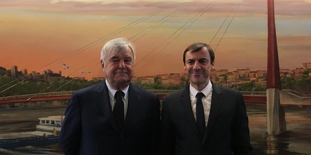 Dominique Martinie (à gauche) et Daniel Karyotis (à droite), respectivement président et directeur général de la nouvelle Banque populaire Aura, insistent sur la nécessité d'investir dans le numérique pour résister aux assauts des nouveaux entrants de la Fintech.