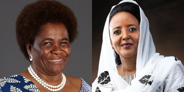 Pelonomi Venson-Moitoi, ministre des Affaires étrangères du Botswana (à gauche) et Amina Mohamed, ministre des Affaires étrangères du Kenya (à droite).