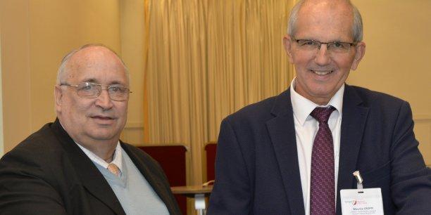 Michel Dambra (CFE CGC), vice-président et Maurice Croppi (Medef), président du Fongecif Auvergne-Rhône-Alpes.