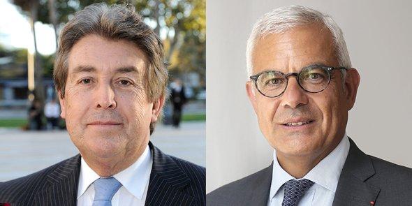 Bernard Fourcade, président sortant de la CCI Languedoc-Roussillon, et Alain Di Crescenzo, son homologue à la CCI de Toulouse