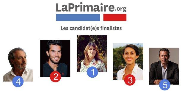 Michel Bourgeois, Nicolas Bernabeu, Charlotte Marchandise, Roxane Revon et Michael Pettini (de gauche à droite) sont les cinq finalistes de laprimaire.org. Les votes sont ouverts.