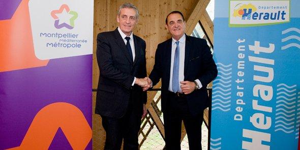 Philippe Saurel et Kléber Mesquida, pour la signature de l'accord Métropole/Département, le 16 décembre au Domaine d'O de Montpellier