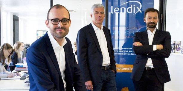 Olivier Goy, le fondateur et président du directoire de Lendix, Marc Sebag, directeur crédit, Patrick de Nonneville, directeur opérationnel.