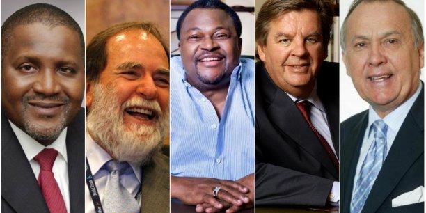 Le top 5 des plus riches d'Afrique (de gauche à droite) : Aliko Dangote (Nigeria), Nicky Oppenheimer (Afrique du Sud), Mike Adenuga (Nigeria), Johann Rupert (Afrique du Sud), Christoffel Wiese (Afrique du Sud).