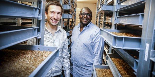 Grégory Louis et Clément Soulier, cofondateurs d'Entomo Farm, ont choisi d'installer leur nouveau site industriel à Libourne.