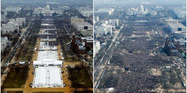 Ce fut la plus grande foule jamais vue lors d'une investiture, point barre, a déclaré le porte-parole de la Maison-Blanche, contestant les photographies avancées par les journalistes qui prouvent le contraire. (à gauche : l'investiture de Trump le 20 janvier ; à droite : l'investiture d'Obama en 2009)