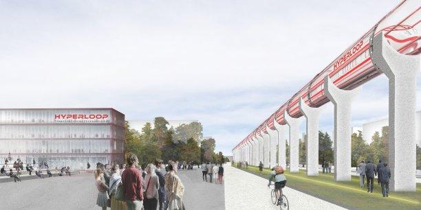 Image de synthèse du centre de R&D d'Hyperloop à Francazal