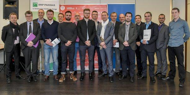 Les lauréats, les candidats, le jury de la sélection du Sud-Ouest à Bordeaux, le mercredi 25 janvier 2017, du Prix La Tribune Jeune Entrepreneur.
