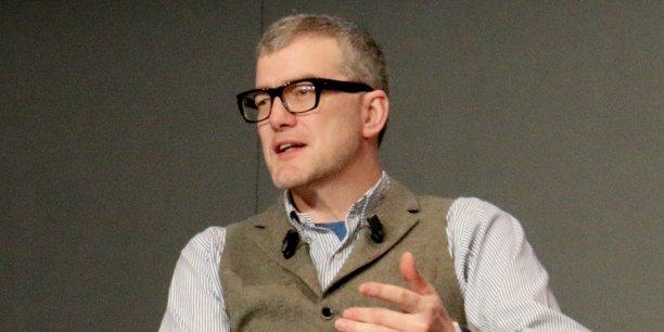 Mark Mullen, le cofondateur et directeur général d'Atom Bank, jeudi au Paris Fintech Forum au Palais Brongniart.