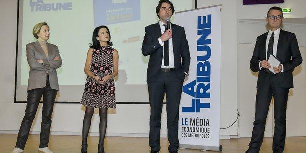 Capgemini/Sogeti est en tête du Top 100 du Palmarès des entreprises qui recrutent. Yann Philippe (Capgemini) et Jean-Pierre Albert (Sogeti) ont reçu le 1er prix remis par Virginie Calmels et Cendrine Martinez, lors de la présentation du Palmarès.