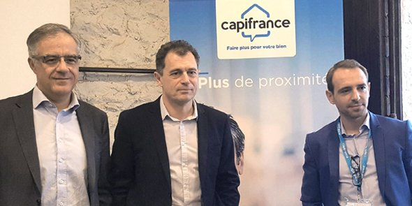Olivier Colcombet (DG de Digit RE Group), Philippe Buyens (DG de Capifrance) et Emmanuel David (directeur marketing de Capifrance).