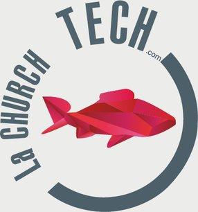 Le logo de la ChurchTech représente un poisson ichthus, symbole des premiers chrétiens, dessiné en origami, comme le logo de la French Tech.
