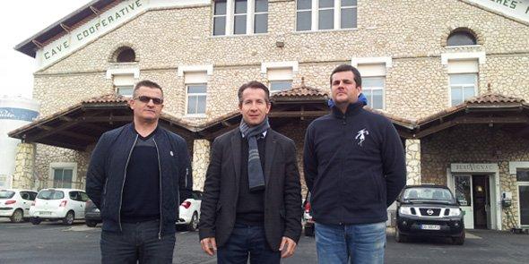 De g. à d.: Jean-Louis Atienza, président de la cave de Pomérols, Joël Julien, directeur de la cave de Pomérols et Julien Raynaud, président de la cave de Florensac.