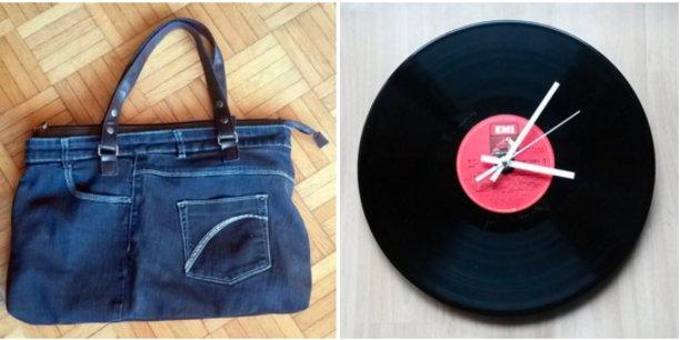 Exemples de créations de la Remixerie : le haut des jeans peut être réutilisé en sac et les vinyles pour faire des horloges.