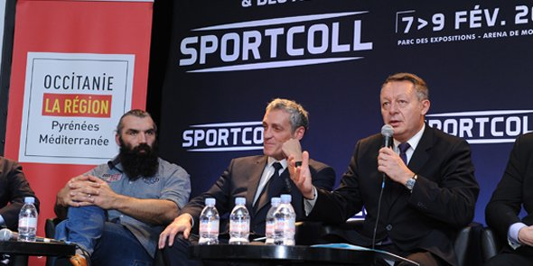 Sébastien Chabal, Philippe Saurel et Thierry Braillard, lors de l'inauguration du salon SportColl à Montpellier, le 7 février 2017.