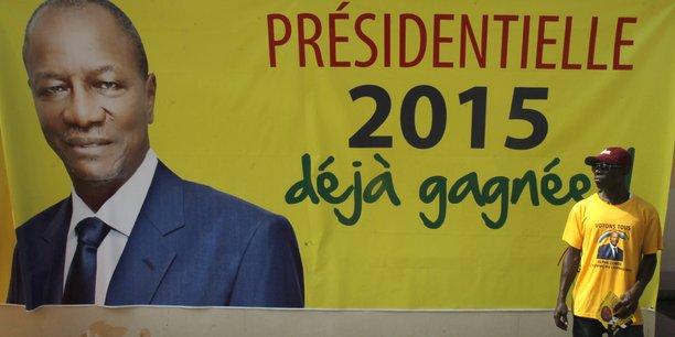 Affiche de campagne pour la présidentielle 2015 où le président sortant Alpha Condé était candidat à sa propre succession
