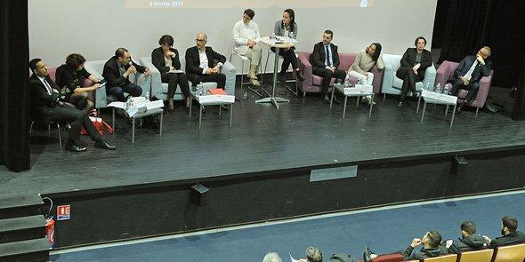 Les débatteurs : K. Messeghem, M.-T. Mercier, F. Hervé, C. Igual, J.-C. Gallo, S. Sammut et une étudiante, S. Baggio, C. Pommier, F. Nauton et C. Nicot