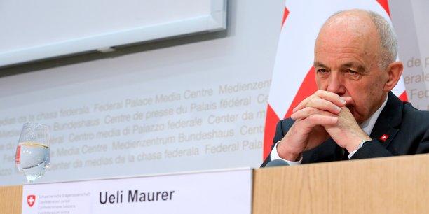 Le ministre des Finances suisse lors d'une conférence de presse, dimanche 12 février.