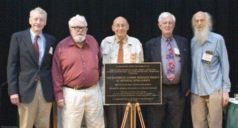 Les pionniers fondateurs de l'intelligences artificielles. (De gauche à droite, Trenchard More, John McCarthy, Marvin Minsky, Oliver Selfridge, and Ray Solomonoff - Photo prise en 1969)