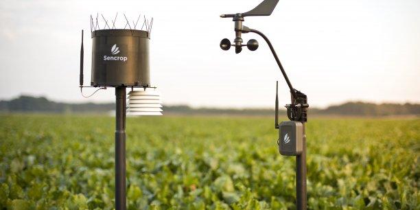 Connectés au réseau bas débit longue distance comme Sigfox, des capteurs relèvent et envoient ces données à distance sur plusieurs dizaines de kilomètres. L'agriculteur les consulte en temps réel sur son Smartphone via l'application Sencrop et les partage s'il le souhaite avec les exploitants des parcelles voisines.