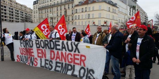 Les syndicalistes de Ford il y a quelques mois devant Bercy.