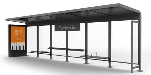 Abri voyageur publicitaire conçu par Marc Aurel pour  MobilConcepts dans le projet du tramway du Luxembourg.