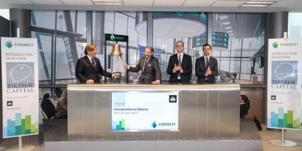 Les cofondateurs de Tikehau Capital, Mathieu Chabran (à gauche) à côté d'Antoine Flammarion, à la cérémonie de la cloche ce mardi au siège d'Euronext.