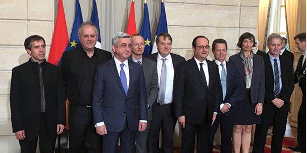 Suite à la signature, en présence du président arménien Serge Sarkissian, du président français François Hollande et des représentants des différentes tutelles de l'Irit, de Michel Daydé, directeur de l'Irit et de Pierre-Henri Cros, chargé de prospective scientifique et partenariat à l'Irit