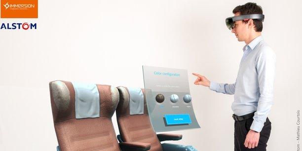 Illustration du projet pilote de réalité mixte développé par Immersion pour Alstom dans le cadre du concours Microsoft Hololens.