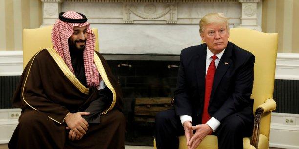 Le vice-prince héritier et ministre de la Défense saoudien Mohammed bin Salman et le président Donald Trump, lors d'une rencontre à la Maison-Blanche, le 14 mars dernier.