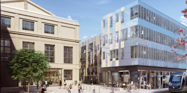 Perspective de la nouvelle place publique rue Fondaudège.