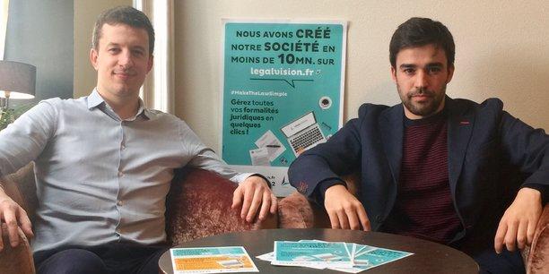 Loïc Le Goas (à gauche) et Gonçalo Alves (à droite), deux des cofondateurs de la startup bordelaise LegalVision.