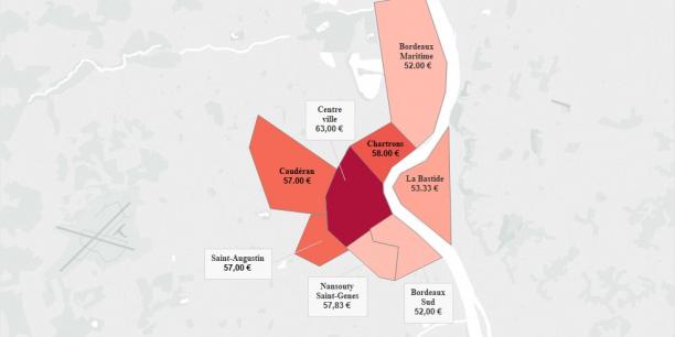La carte des loyers Airbnb à Bordeaux, selon la startup parisienne Luckey Homes