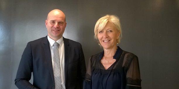 Rémi Heurlin, directeur délégué de Bordeaux, et Anne Fontagnères, directrice régionale de la Caisse des dépôts.