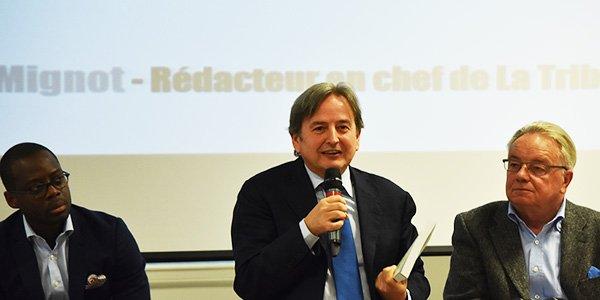 De g. à dr. : Khaled Igue (OCP), Cosimo Lacirignola (Ciheam) et Jean-Louis Rastoin (Sup Agro Montpellier), les trois principaux animateurs de la conférence dédiée à la sécurité alimentaire.