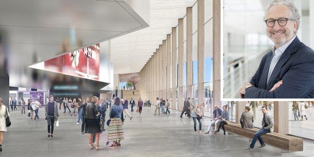 La reconstruction du hall 2 du Parc des expositions de Bordeaux va nécessiter un investissement global dépassant 72 millions d'euros. En médaillon : Eric Dulong, président de CEB