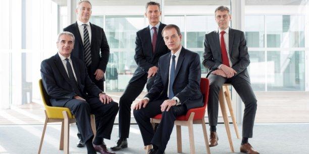 Le directoire : de gauche à droite au premier plan : Patrick Dufour et Jean-François Paillissé. Au second plan : Pierre Décamps (en charge du pôle finances), Roland Béguet et Thierry Foret