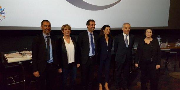 De g. à d.: Olivier Giorgiucci, France Jamet, Michaël Delafosse, Coralie Dubost, Joseph Francis et  Muriel Ressiguier.
