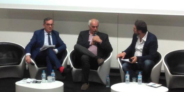 De g. à d.: Pascal Maurel, Philippe Goulliaud et Guillaume Mollaret, journaliste et animateur du débat de la FHP-LR.