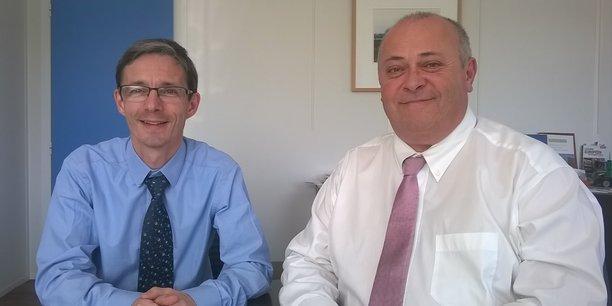 Olivier Quoy, directeur général d'Atlandes (à gauche) et Pascal Duhoo, responsable Wattway chez Colas (à droite).