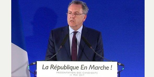 Richard Ferrand, le secrétaire général du mouvement, lors de la conférence de presse du 11 mai 2017.
