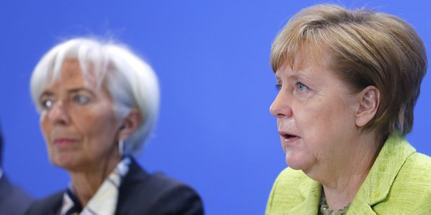 Christine Lagarde, directrice exécutive du FMI, et la chancelière Angela Merkel.