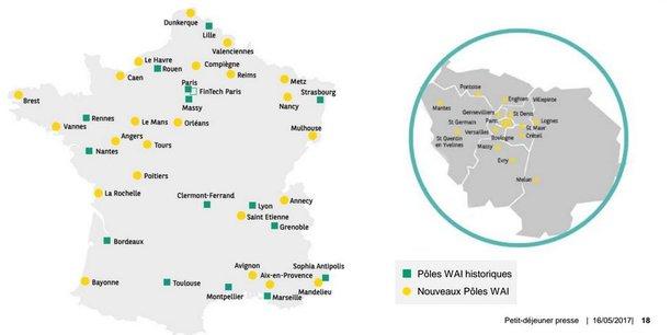 La banque de la rue d'Antin, qui a ouvert 16 pôles innovation ces dernières années (en vert), en comptera 60 dans toute la France d'ici à la fin de l'année, de Dunkerque à Bayonne et du Havre à Mandelieu.