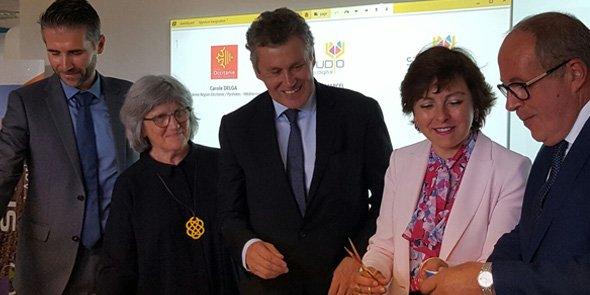 Stéphane Marcel (DG de SMAG), Chantal Marion (vice-présidente de Montpellier Méditerranée Métropole), Thierry Blandinières (DG de InVivo), Carole Delga (présidente de la Région Occitanie) et Philippe Mangin (président de InVivo).